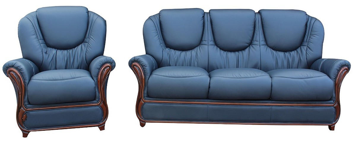 Juliet 3 Seater Armchair Genuine Italian Navy Blue Leather Sofa Suite Offer
