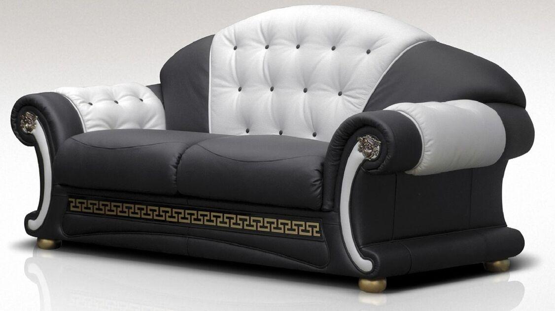 North Carolina 3 Seater Sofa Settee Genuine Italian Black
