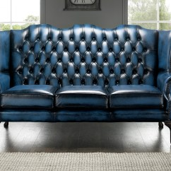 High Back Chesterfield Sofa Arm Covers Blue 3 Seater Chair Designersofas4u