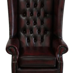 Oxblood Leather Wing Chair American Salon Chesterfield Soho High Back Antique Flat