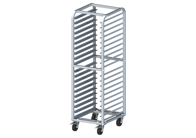 heavy duty 20 tier end load sheet pan rack with brakes winco