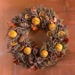 Handcrafted Orange And Pinecone Aromatic Fall Wreath Wind And Weather