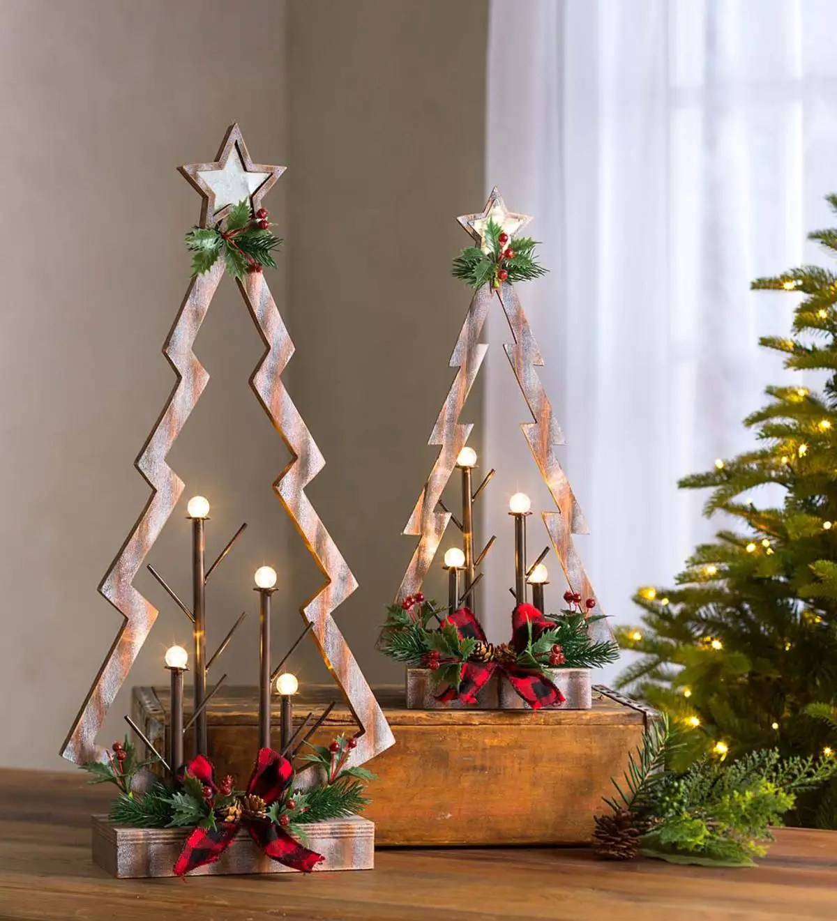 Tabletop Lighted Wooden Christmas Trees Set Of 2 Wind And Weather