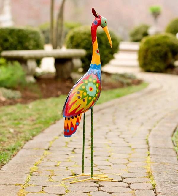 Colorful Metal Crane Sculpture Yard