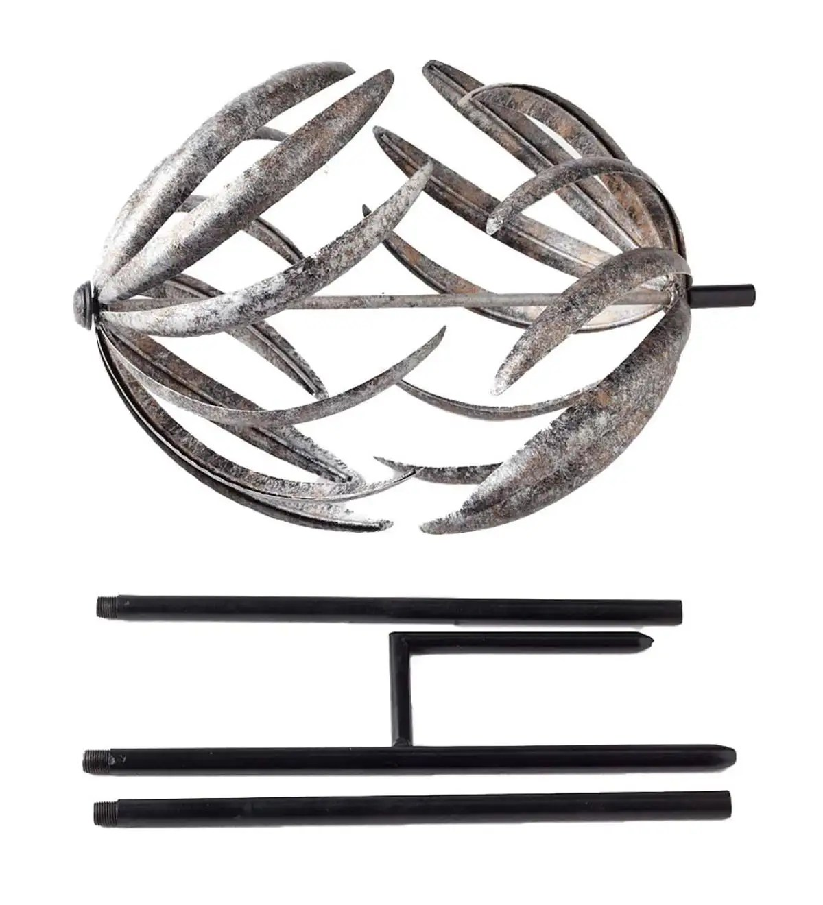 Dual-Horizontal-Motion Metal Wind Spinner with Antiqued