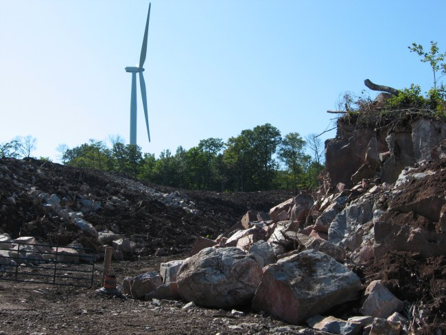 Wind is green, wind is good: photo shows blasting for access roads and turbine foundations in Algoma Highlands Photo: Gord Benner