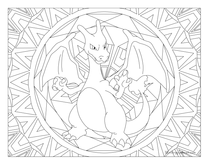 006 Charizard Pokemon Coloring Page Windingpathsart