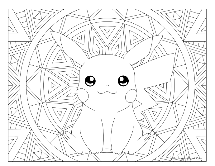 Pikachu Pokemon Coloring Page  C B Windingpathsart Com