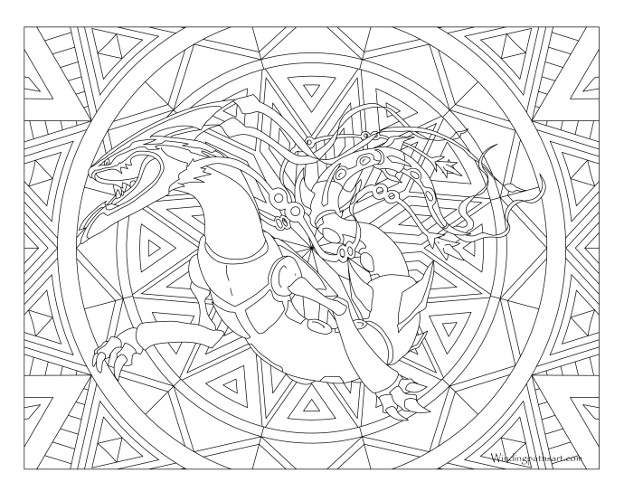rayquaza coloring pages - 384 mega rayquaza pokemon coloring page