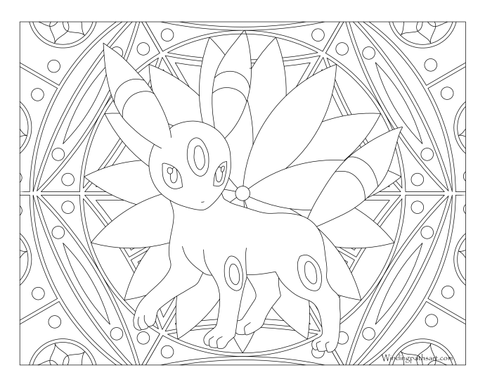 197 Umbreon Pokemon Coloring Page · Windingpathsart.com