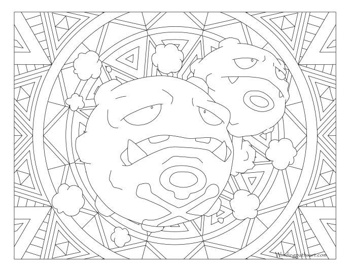 110 Weezing Pokemon Coloring Page