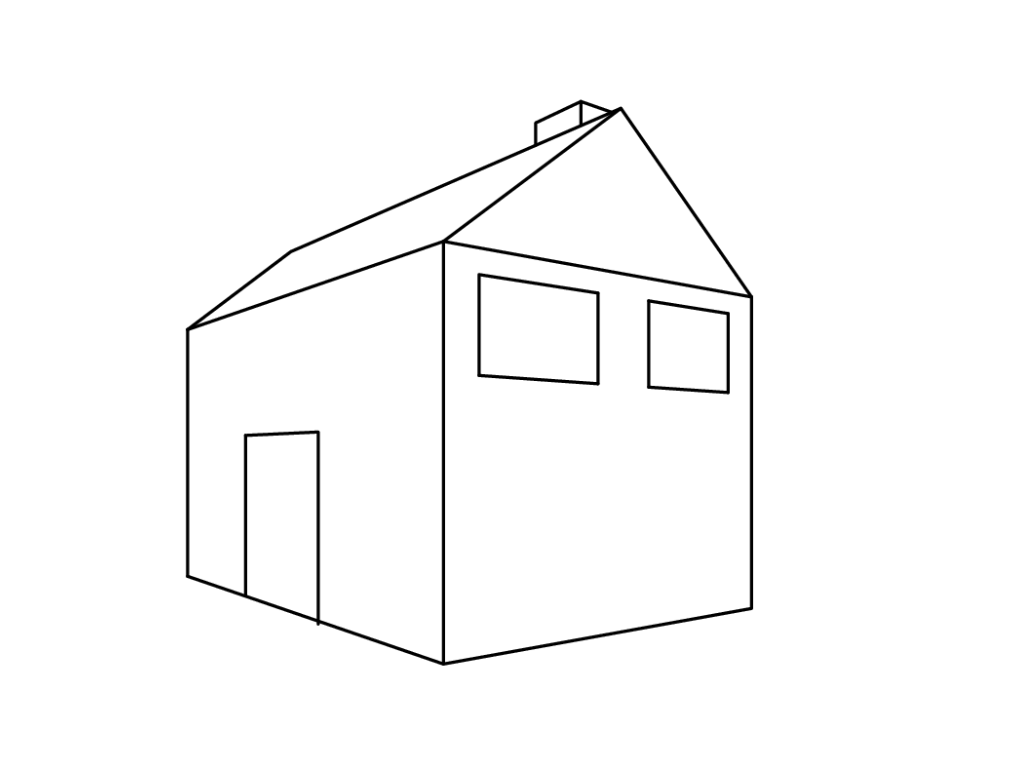 How to draw a 2-point perspective simple house