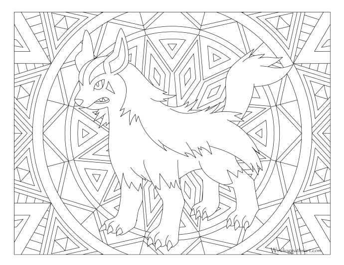 262 mightyena pokemon coloring page