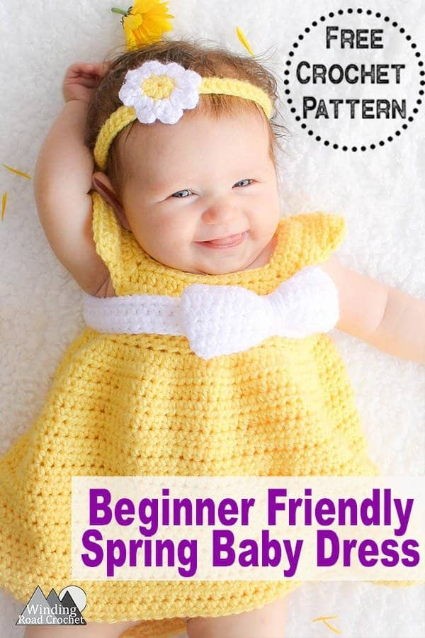 b8459e5e85 Free pattern for a crochet baby dress sizes newborn, 6 months, 12 months and