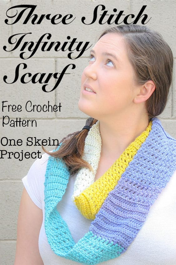 Want a quick and easy friday night project? Work up this free crochet pattern for an infinity scarf with lots of unique texture and appeal. This is a one skein project that you can have ready for the weekend. My example uses Caron Cakes yarn and is a bright and colorful addition to my wardrobe.