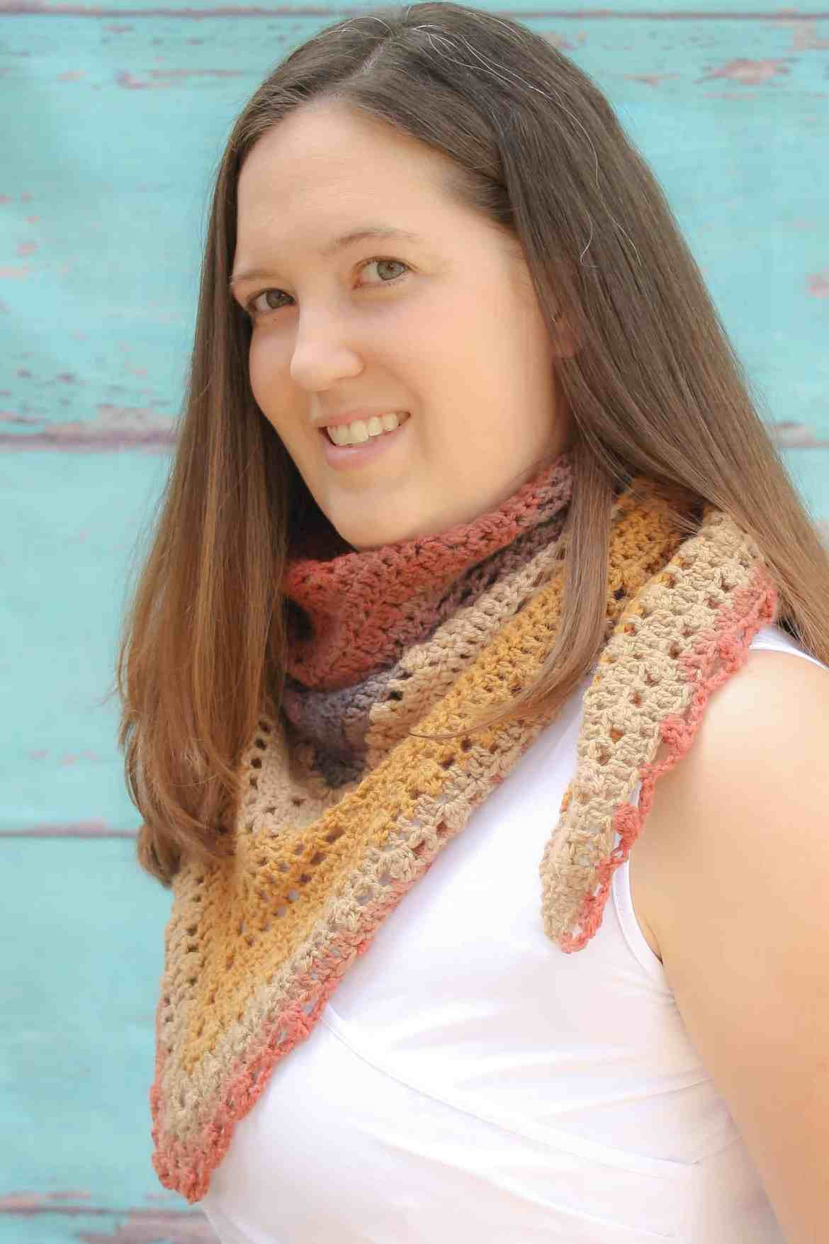 Desert Sunset shawl is a free crochet pattern that is the intermediate crocheter. It uses very few stitches and all special stitches are explained. This is a fun project that creates a unique design. This project only take one skein of Lion Brand Mandala yarn.