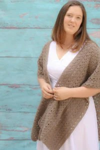 Wrapped in Love crochet wrap is a wonderful free crochet project. It uses lionbrand pound of love yarn. This free crochet pattern uses a 4 row repeat with to create a unique texture.