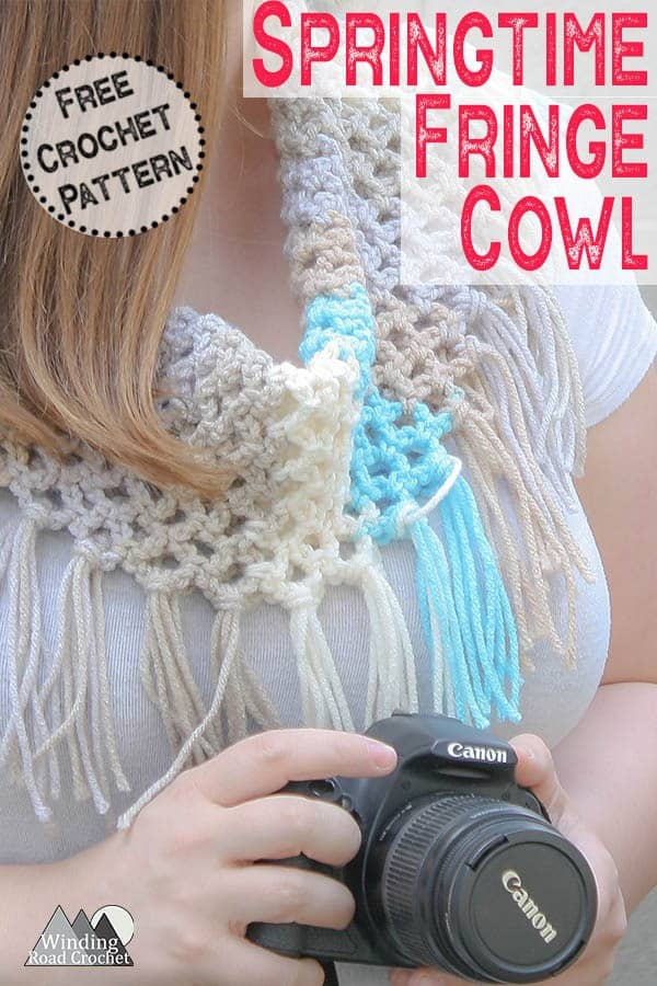 Crochet the quick and easy Springtime Fringe Cowl free crochet pattern by Winding Road Crochet. This cowl works up fast and uses only one skein of yarn. #springcrochet #crochetscarf #crochetcowl