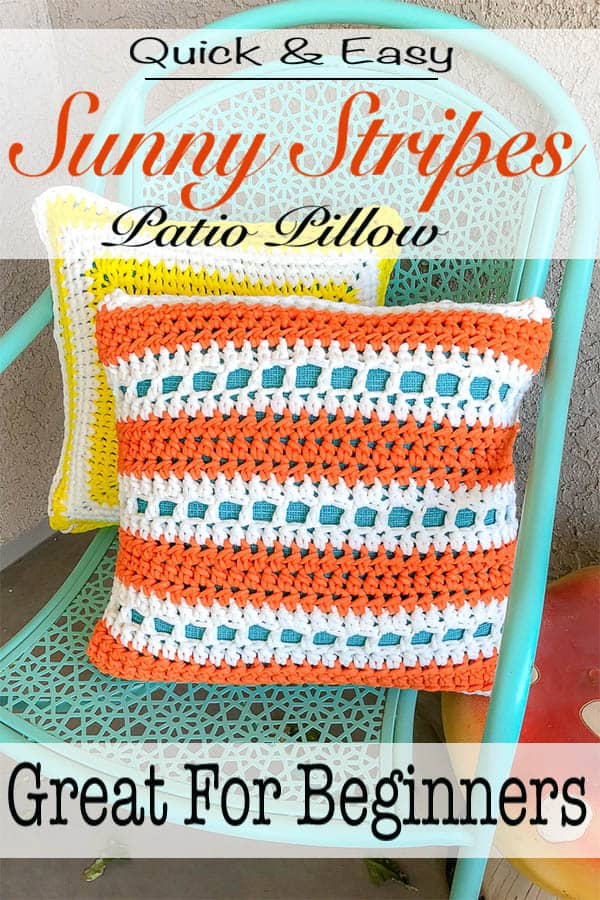 The sunny stripes Patio pillow free crochet pattern is a perfect way to brighten up your patio and get it ready for all the summer barbecues, pool parties and get togethers. This quick and easy pillow is made with only one skein of yarn and works up in an afternoon. This is great project for beginners. #crochet #patiopillow #pillow #crochetpillow #forbeginners #quick #easy #free #freecrochetpattern