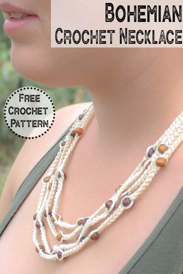 quick and easy bohemian necklace made with this free crochet pattern. Perfect for women wanting to add a natural touch to their accessories. Perfect handmade jewelry. #crochetjewelry #bohocrochet #bohemian #handmadejewelry