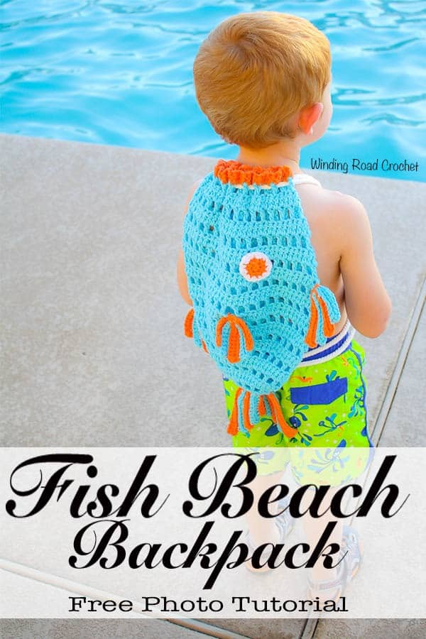 The Fish Beach Backpack is the kids way to help drag all the beach toys to the pool with their own crochet beach bag. This free crochet pattern has photos to walk your through the whole project. #crochet #beachbag #freepattern