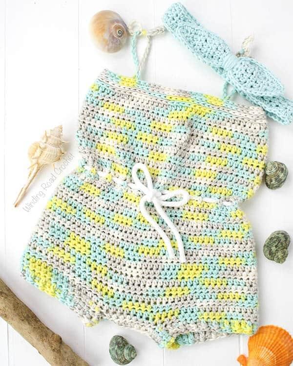 Beachside Baby Romper Free Crochet Pattern Winding Road