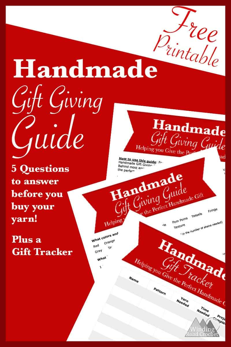 DO you want to give the perfect handmade gift to someone? Just answer 5 simple questions in my Handmade Gift Giving Guide and you will be on your way to selecting the perfect gift project possible. I have provided many suggestions and thoughtful ideas to help you think outside the box and choose the perfect gift. This guide is designed for crocheters and knitters but will work for any craft.