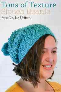 This beautiful fall inspired free crochet pattern is a great addition to any closet. The Tons of texture slouch beanie has a beautiful rustic texture and a simple construction. This beanie works up quick and the accompanying crochet stitch video tutorials makes this hat doable by even begginers.