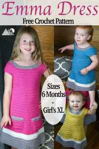 Emma Crochet Sweater Dress   Free Crochet Pattern   A beautiful texture and simple construction makes this a great fall crochet project. Enjoy the free crochet pattern. This link contains the pattern for Baby sizes 6 and 12 months, Toddler 2T-4T and Girl's size X-Small through X-Large. #crochet #crochetdress