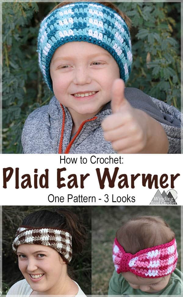 Plaid Crochet Ear Warmer Three Looks Winding Road Crochet