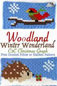 Song Bird and Hedgehog Crochet C2C Square | Crochet a beautiful blanket for the holidays, using the corner to corner crochet method. Free Crochet charts and written pattern available. Woodland Winter Wonderland C2C Corner to Corner Crochet Blanket. Use the charts for any tapestry crochet, make a wallhanging, or just make one square into a holiday tote. #crochet #crochetpattern #crochetgraph