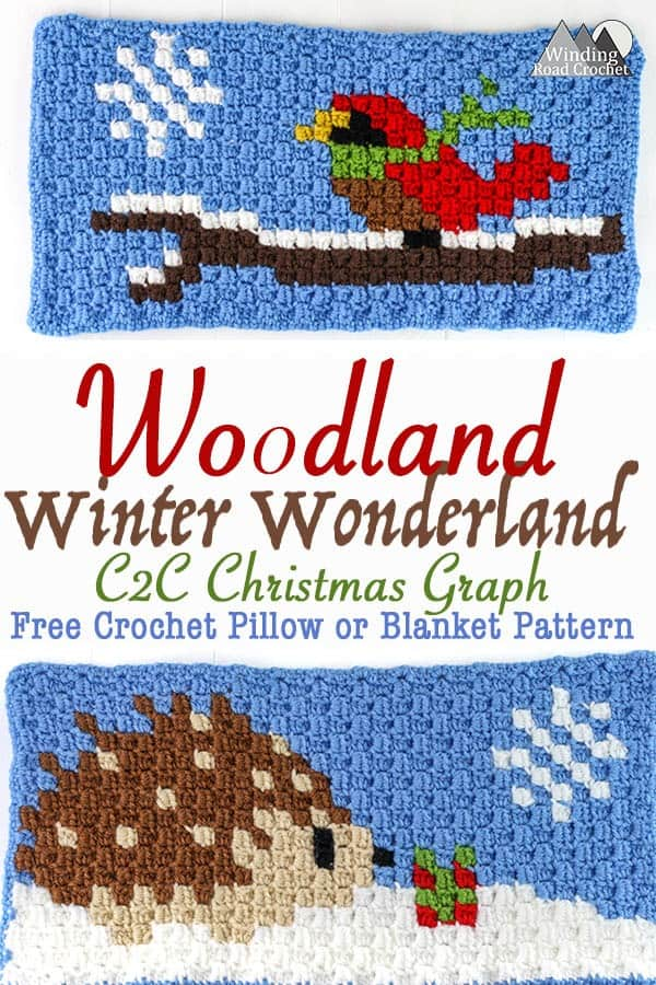 Song Bird and Hedgehog Crochet C2C Square   Crochet a beautiful blanket for the holidays, using the corner to corner crochet method. Free Crochet charts and written pattern available. Woodland Winter Wonderland C2C Corner to Corner Crochet Blanket. Use the charts for any tapestry crochet, make a wallhanging, or just make one square into a holiday tote. #crochet #crochetpattern #crochetgraph