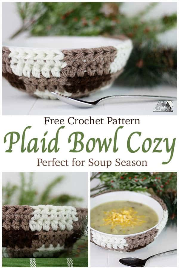 The Plaid Bowl Cozy crochet pattern is perfect for the soup season. This easy pattern uses three colors of yarn to create a plaid look. I have included lots of photos in this tutorial to make it easy for beginners. #crochet #crochetcozy #soupbowl #plaidcrochet