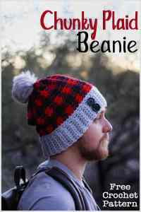 The Chunky Plaid Beanie is a quick and easy crochet pattern that uses simples stitches and color changes to create a beautiful plaid pattern. This is a great pattern for beginners that are looking at challenging themselves with a plaid pattern. Free crochet pattern. #freecrochetpattern #crochethat #crochetbeanie