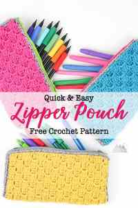 Corner to Corner crochet zipper pouch is a perfect first crochet pattern for beginners that just learned the corner to corner crochet stitch. Check out the accompanying post that has video and photo tutorials for how to corner to corner crochet. This crochet bag can hold pens, hooks, and other supplies. There is a photo tutorial for how to add a no sew liner. #c2ccrochet #crochetbag c2c zipper pouch