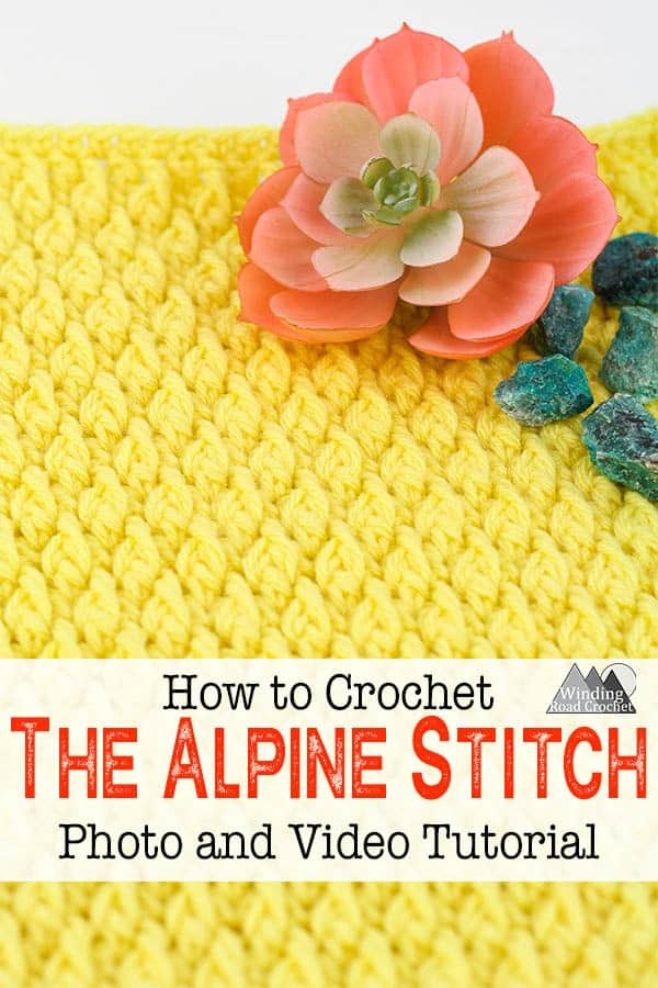 Learn how to crochet the alpine stitch with this photo and video tutorial. Video tutorial includes right and left handed instructions. This crochet stitch is also know as the ripple stitch, raised ripple stitch, aspen stitch, and alternating Front Post and Double Crochet stitch. #crochetstitch #Stitchtutorial