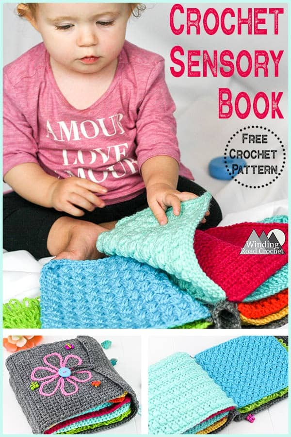 Crochet a beautiful crochet sensory book using sample swatches of different crochet textures. This is a fun project that lets you learn new crochet stitches and you end up with a family heirloom for your children. This free crochet pattern helps you make the book cover and there are links to all the crochet stitch tutorials I used for the center pages. This sensory book makes a wonderful gift for any baby or toddler. #crochetpattern #crochetforbabies