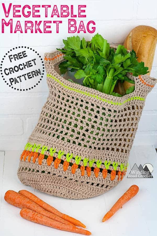 Make this unique vegetable market bag with this free crochet pattern using cotton yarn. This bag uses all basic stitches combined with the new Carrot Stitch. Video tutorial available. #crochetmarketbag #marketbag #crochetbagpattern