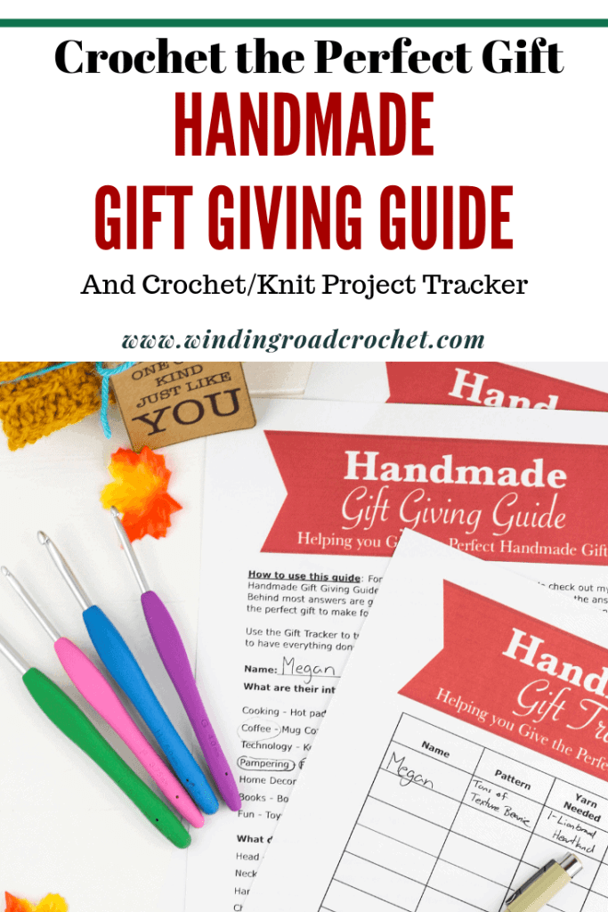 Do you want to give the perfect handmade gift to someone? Just answer 5 simple questions in my Handmade Gift Giving Guide and you will be on your way to selecting the perfect gift project possible. Find gift suggestions, a printable gift tracker and more! #crochetprintable #crochet #knitting #handmade #handmadegift #giftguide #printable #crochettracker #gifttracker