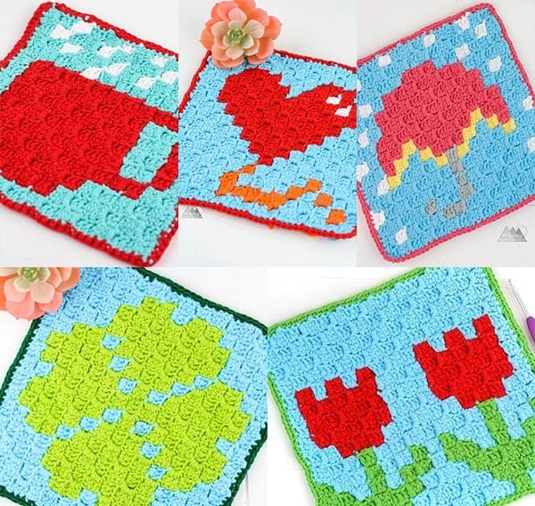 Crochet a quick and easy Cactus C2C Crochet graph. It makes a perfect washcloth or double it up for a pot holder. Free pattern by Winding Road Crochet. #crochet #c2ccrochet #c2c #crochetwashcloth #crochetpotholder