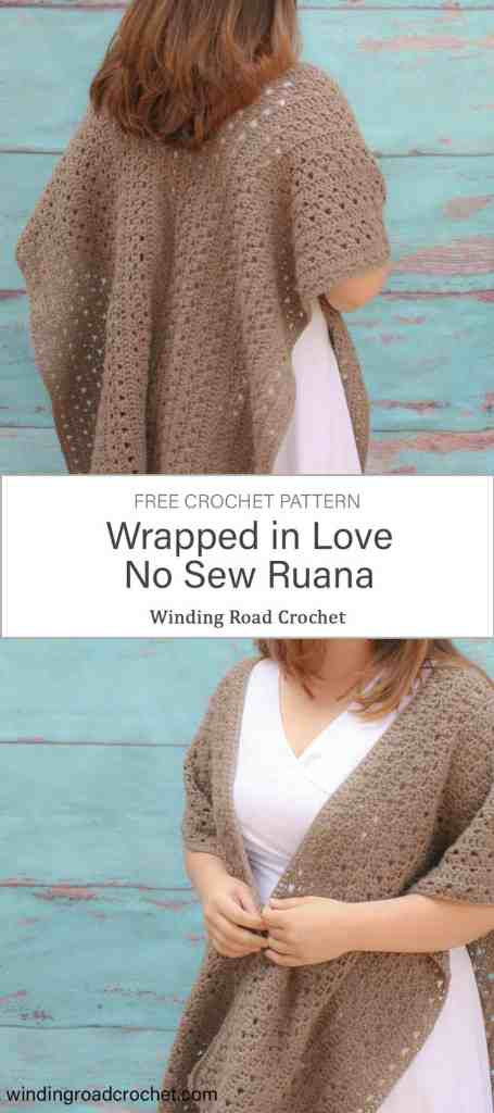 Stay warm with this beautiful textured crochet ruana or wrap. This a great cover up for women. Free crochet pattern by Winding Road Crochet. #ruana #free #freecrochetpattern #crochetpattern #crochet #crochetwrap #crochetshawl #crochetcardigan #crochetponcho #crochetkimono