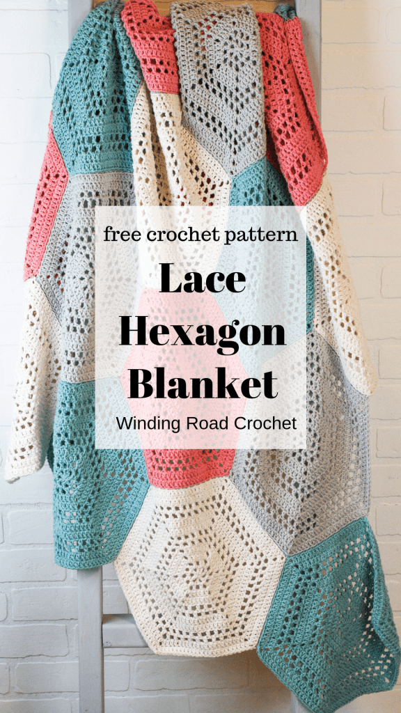 Crochet a beautiful cotton hexagon blanket with an airy open stitch pattern. Free crochet pattern with instructions and diagrams to adjust for a throw blanket or baby blanket. #crochethexagon #hexagonblanket #babyblanket3 Crochetbabyblanket #crochetblanket