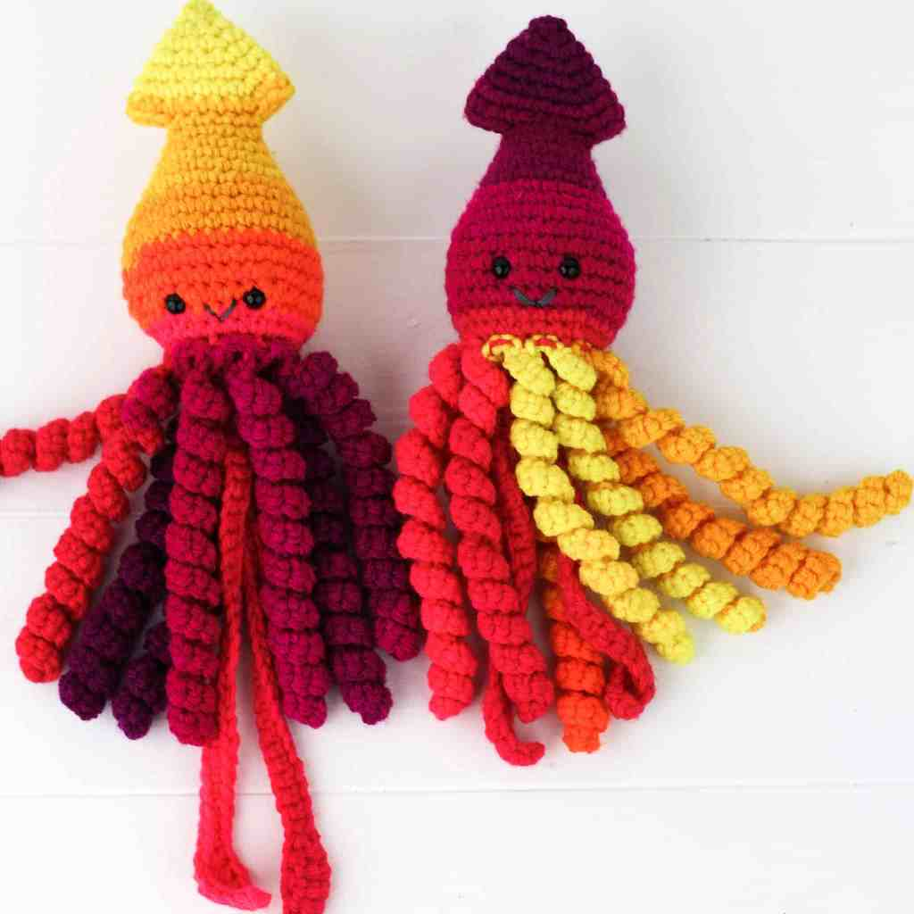 This preemie crochet squid pattern works up fast and is just adorable. Free crochet pattern for an amigurumi squid by Winding Road Crochet. #squid #crochetsquid #amigurumi #preemiecrochet