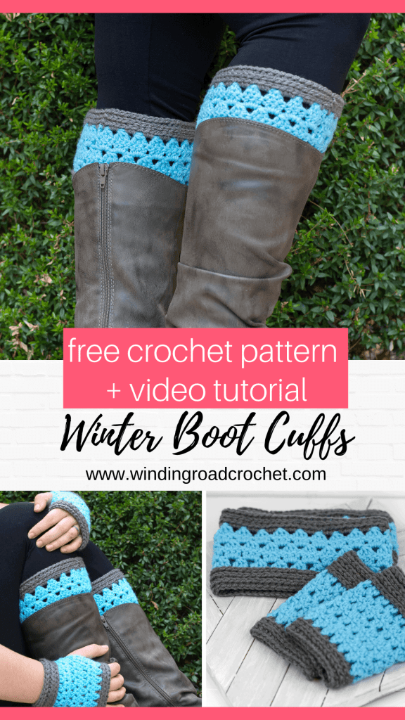 Learn to crochet a quick set of crochet boot cuffs and fingerless mitts with this free crochet pattern and video tutorials by Winding Road Crochet. #crochetbootcuffs #crochetmitts