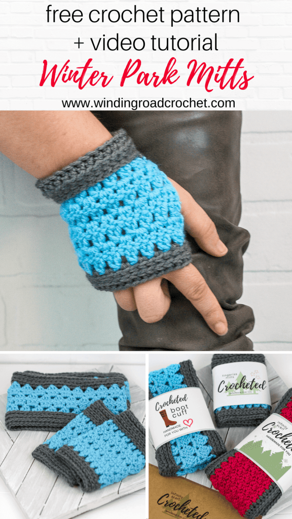 Learn to crochet a quick set of boot cuffs and fingerless mitts with this free crochet pattern and video tutorials by Winding Road Crochet.