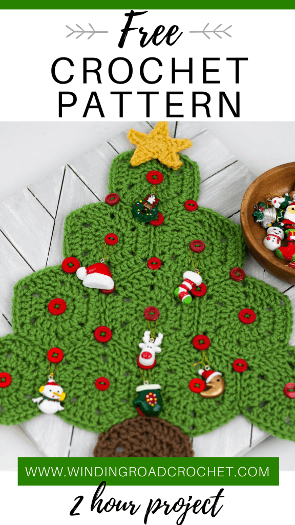 Learn to crochet this cute little mini advent calendar. This project works up in only two hours and is a great holiday decor. Free crochet pattern with video tutorial by Winding Road Crochet. #adventcalendar #crochetholiday #handmadeholiday