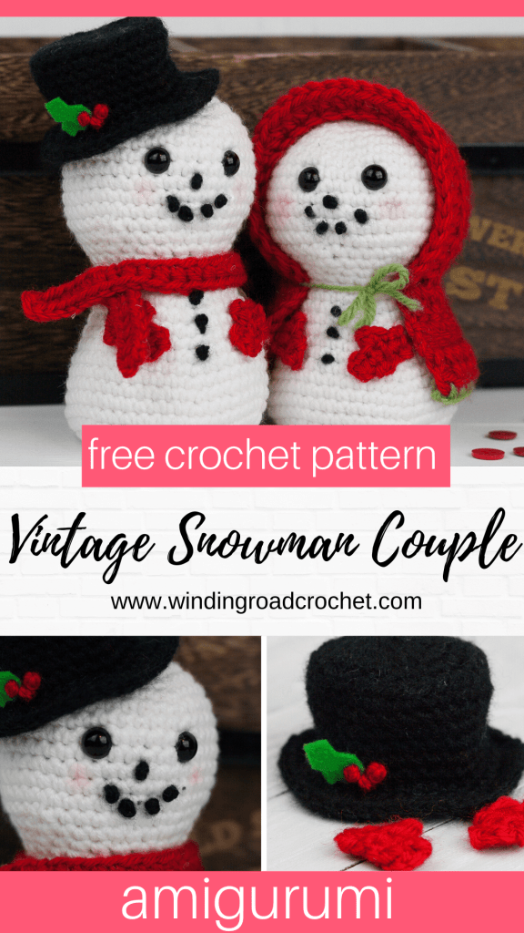 Create this adorable crochet snowman in just a few hours, then crochet his lady friend. Free crochet pattern for amigurumi snowman couple. #crochetsnowman #amigurumisnowman #vintagesnowman