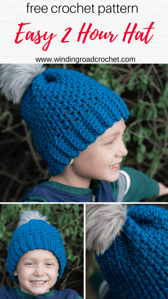 Crochet this quick and easy beanie with a free crochet pattern by Winding Road Crochet. It just takes one skein of yarn to make this 2 hour crochet beanie.  #crochethat #crochetbeanie