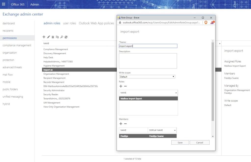 Exportar un pst en Office365