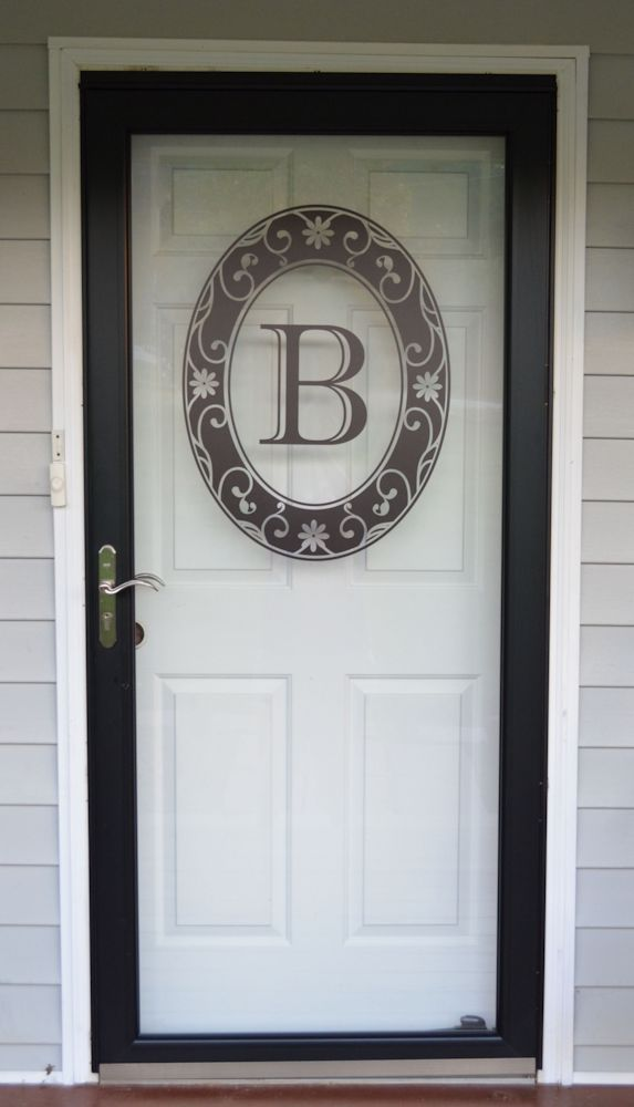 Black Monogram Etched Glass Window Decal